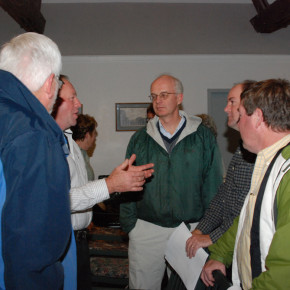 Supervisor-elect Matt Hicks listens to a post-meeting discussion Nov. 5 at the village hall.
