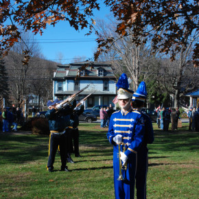 Trumpet players from the Granville High School Marching Band prepare to play Taps as the American Legion and VFW fires a 21-gun salute Veterans Day, Nov. 11, 2010.
