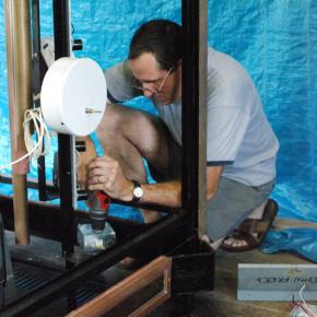 Some time during the summer of 2010 John Freed works in his village garage workshop restoring the World War II Veterans Memorial Clock.