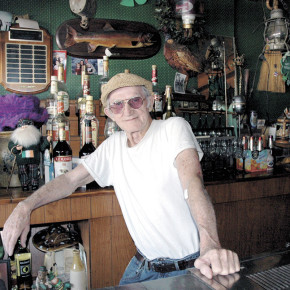 P J Kelly behind the bar in his Middle Granville bar circa 2006.
