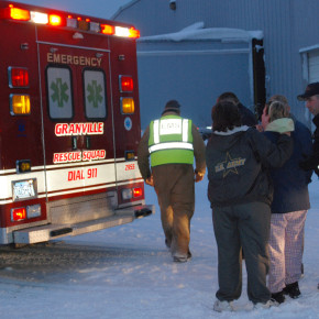 One of two boys who fell into the Mettowee River near Manchester Wood is evaluated in an ambulance Monday evening.
