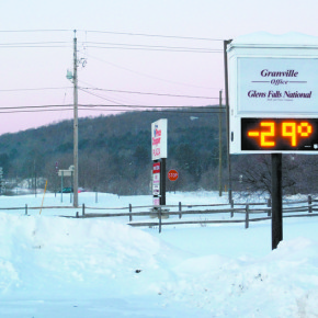 This photo taken just after 7 a.m. on Monday shows 29 degrees below zero. Moments before the display showed 30 degrees below zero, a full 10 degrees colder than the record low for the date set in 1970 of 20 degrees below zero.