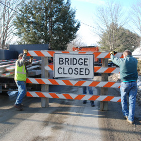 Washington County workers close the Upper Turnpike Road.