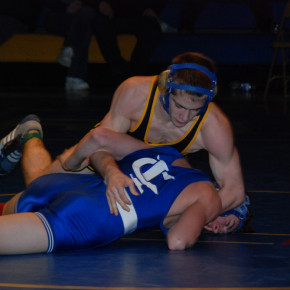 Brendan Miller (125) pinned Ichabod Crane's Dustin Olsen for the Coach Ken Baker Tournament title, reaching 99 wins in the process. Miller went on to reach the 100-win milestone as Granville picked up a match with Mechanicville on Jan. 31. Miller and teammates Eric Hastings, Kurt Ehntholt and Karl Palmer expect to be high seeds at the Class C Tournament Feb. 5 at Corinth.