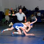 Kurt Ehntholt (145) works for control of Salem's Robert Tobin on his way to the win and the Coach Ken Baker Tournament title. Ehntholt should reach the 100-win plateau in Corinth Feb. 5 at the Class C Tournament with a place finish.
