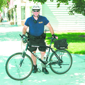 Patrolman Greg Bourn was the bike officer as well as the DARE officer in the Granville School District.