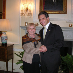 Granville's Sheila Comar with Gov. Andrew Cuomo at a recent Deomcrtic Party meeting.