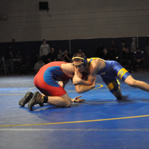 Nathaniel Palmer, pictured here en route to winning at 132 pounds at the Ken Harrison Memorial, also won against Hadley-Luzerne.