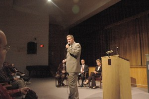 Gibson speaks in Whitehall; Jordan, Little field questions