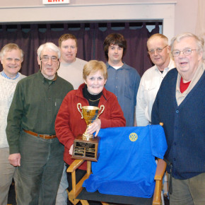 The Slate Valley Slaters: Dave Whitman, Rotary President Steve Williams, Jonathan Hill, Maureen hill, Orson kingsley, john Shaw and David Bridges came from behind to win the 2011 charity trivia tournament. Jan. 22, 2011.