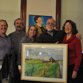 Pat Wesner, Dave Juckett, Kathy Juckett, Bo Young and Marcia Klam pose with art from Lyn Knoble, Caroline Kibbe and Kathy Juckett