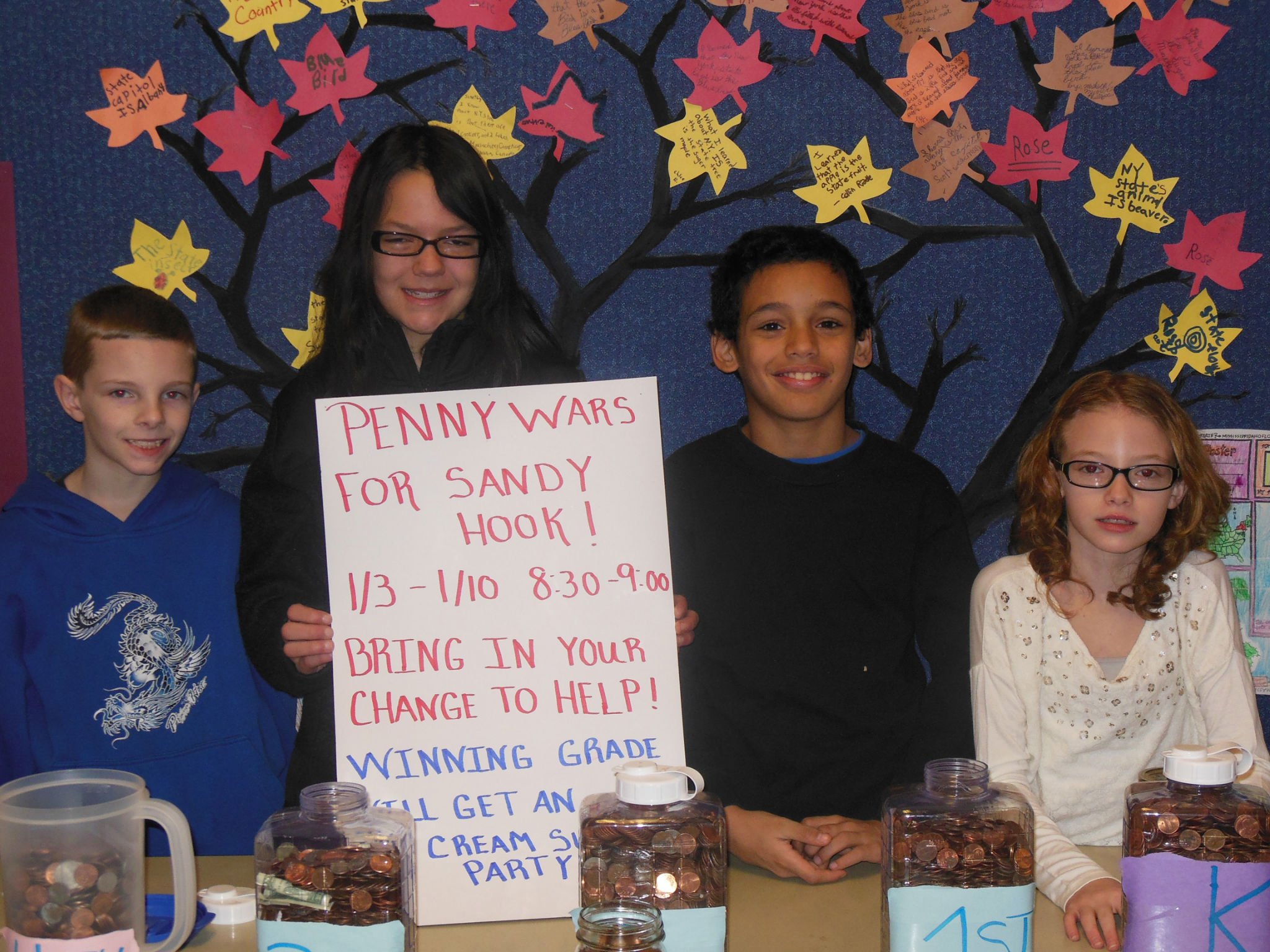 Students help Newtown one penny at a time