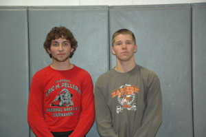 Al Aubin (left) finished second and John Diekel (right) first at the Saratoga Wrestling Tournament.