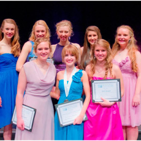 Cutline: Rebecca Lavin, back row, far left, recently participated in the New York State Distinguished Young Women program in Albany. Others who participated were: Back Row (L to R): Lavin, Veronica Schuver, Lakewood; Maria Ostafew, Albion; Alaina Bevilacqua, Ticonderoga; and Taylor Booth, Crown Point. Front Row (L to R): Samantha Bowers, Williamsville, Distinguished Young Women of New York 2013; Brittany Egnot, Albany; and Angelyn Brown, Alden.