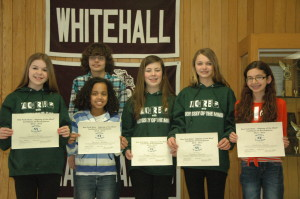 Whitehall's Odyssey of the Mind team show off the certificates they earned for finishing seventh at the New York State Odyssey of the Mind competition in Binghamton. Pictured (L to R) are: Jessica Bruce, Colby LaChapelle, Jazmyn McCall, Morgan O'Dell, Courtney Wiskoski and Victoria Davis.