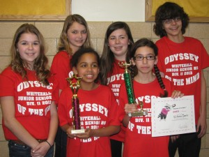 Whitehall's Odyssey of the mind team won a regional competition Saturday at Queensbury. The team earned the chance to participate at the state competition in Binghamton on March 23. Pictured are: Jessica Bruce, Courtney Wiskoski, Jazmyn McCall, Morgan O'Dell, Victoria Davis and Logan LaChapelle.