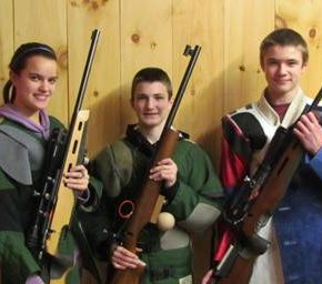 Junior shooters Malia DeLorme, Jay Lawrence (Hartford), and Joe DeLorme competed in last week's Tri County Rifle League match between Hartford and Whitehall.