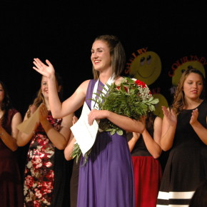 Rachel Lavin waves after winning the Whitehall DYW