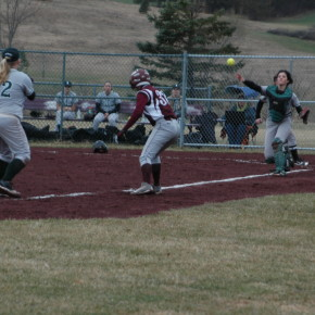 Beth Jones scored after getting stuck in a pickle in the first inning Monday