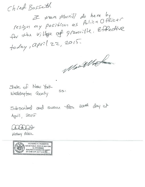 Morrill resignation