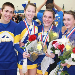 Zachary Kasuba is shown with fellow Poultney High School cheerleaders following a competition.