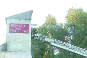 Firefighters discovered an issue with the ladder truck's hydraulic lines during last week's training.