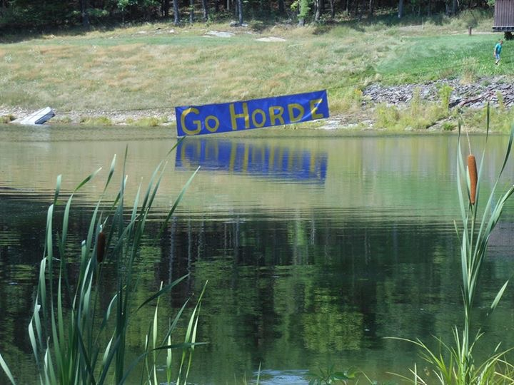 'Go Horde' signs paint town blue, gold