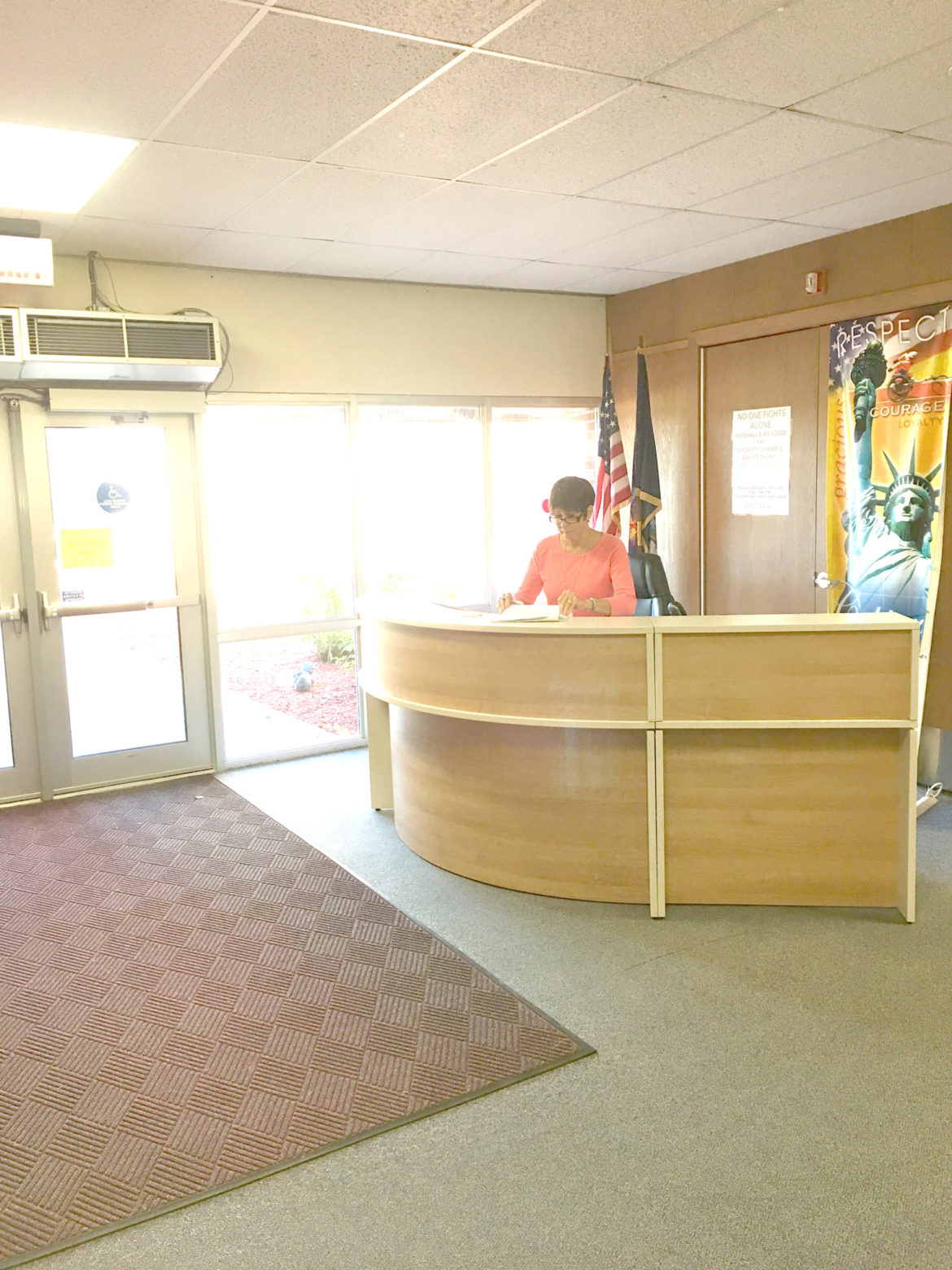 A desk has been set up at the front of the Elementary School for security and tax processing. All visitors must check in at the front desk or office when entering either the high school or elementary school. This new procedure is designed to improve security at the facilities.