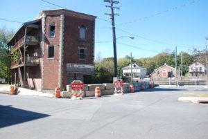 Village barricades 'Flat Iron' building