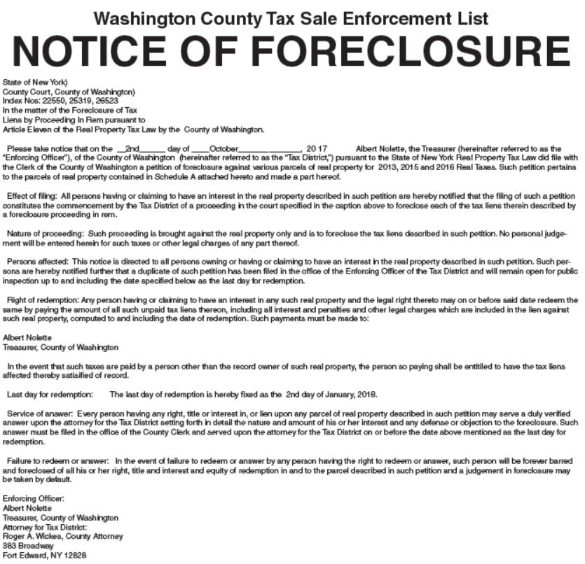 Notice Foreclosure Letter Template