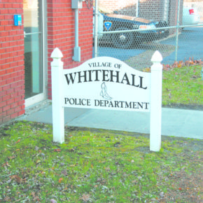 The entrance to the Whitehall Police Station.