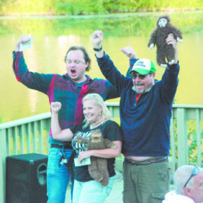 The top three adult winners of the Sasquatch Calling Contest.