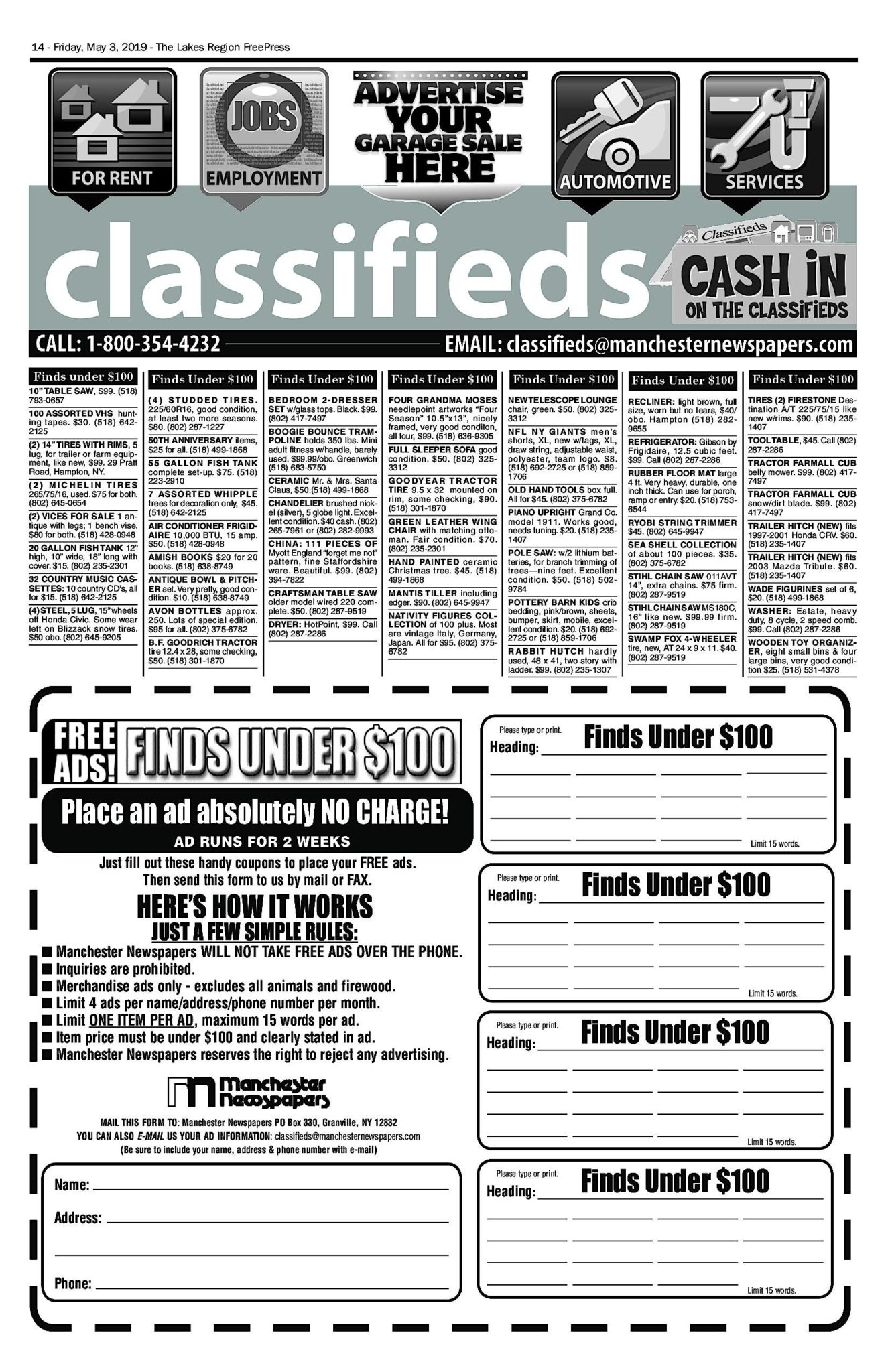 Lakes Classifieds – 05/03/19