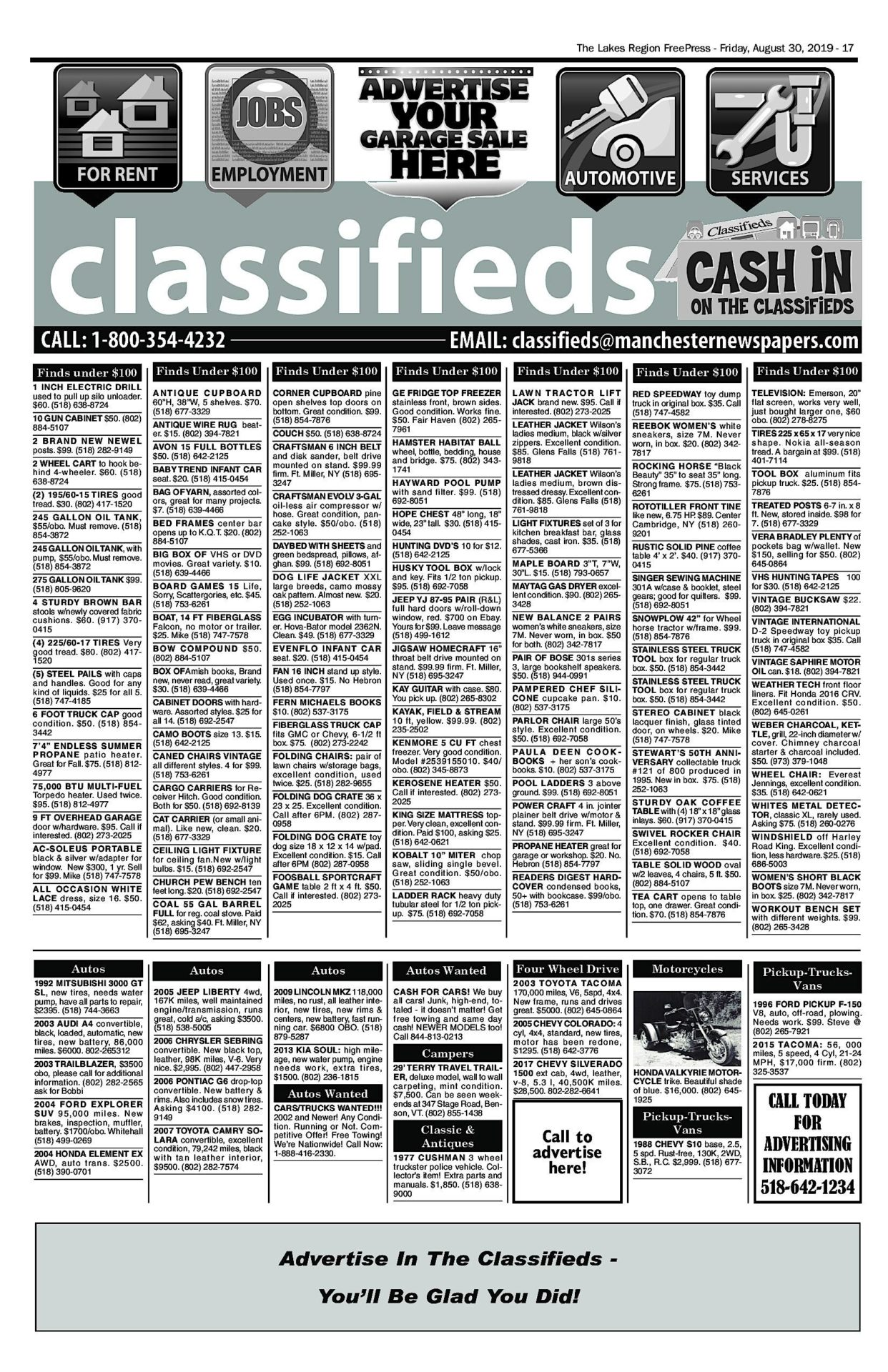 Lakes Classifieds – 08/30/19
