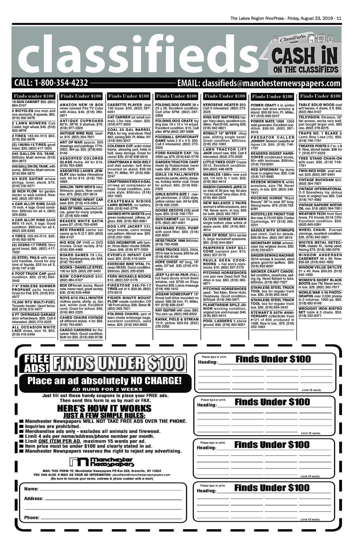 Lakes Classifieds – 08/23/19