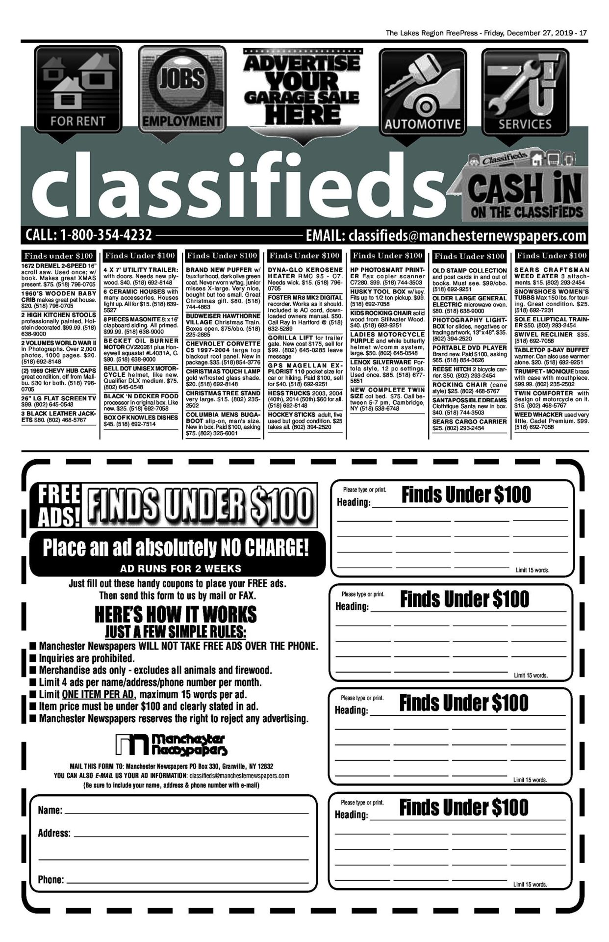 Lakes Classifieds – 12/27/19