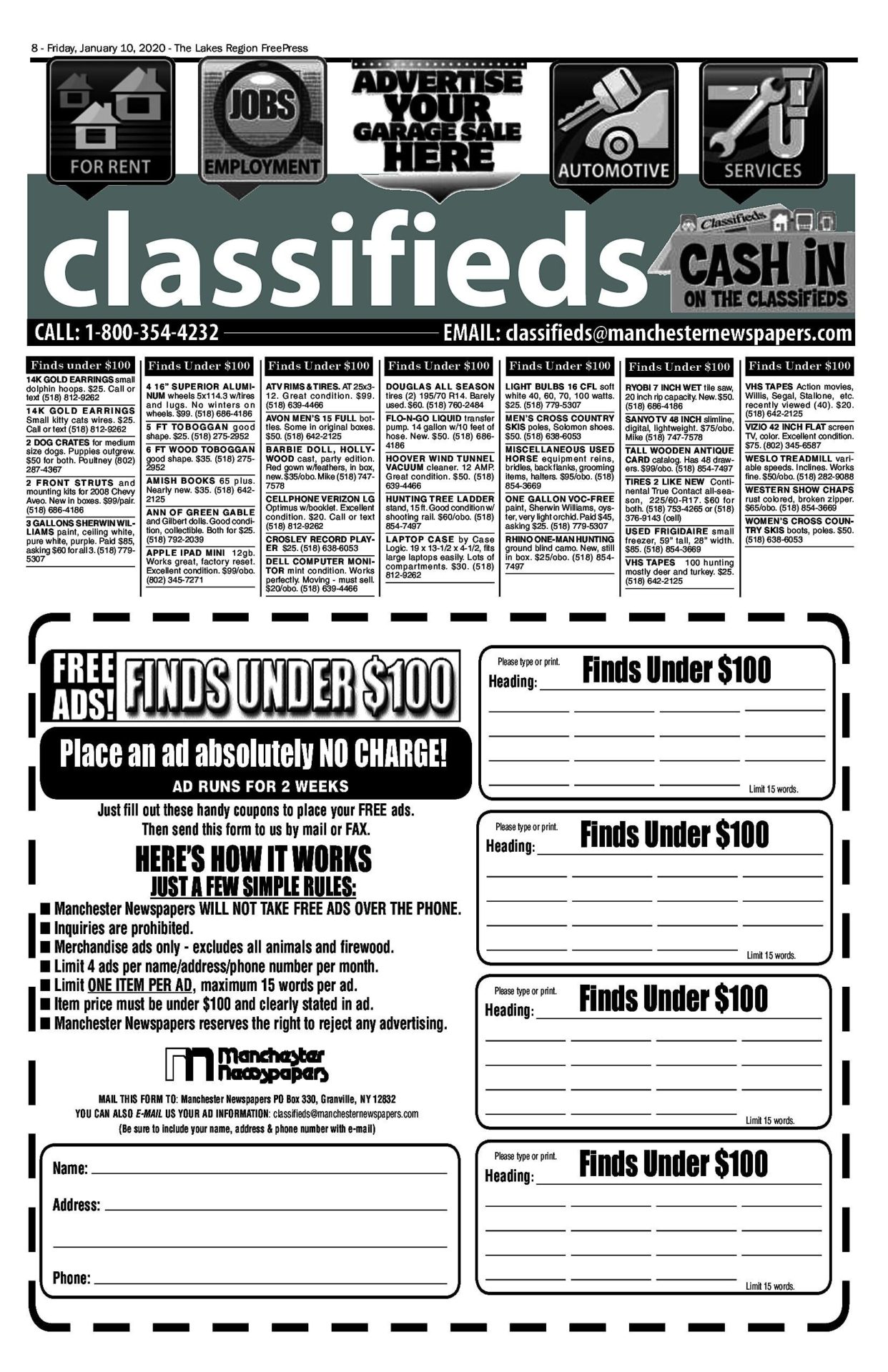 Lakes Classifieds – 01/10/20