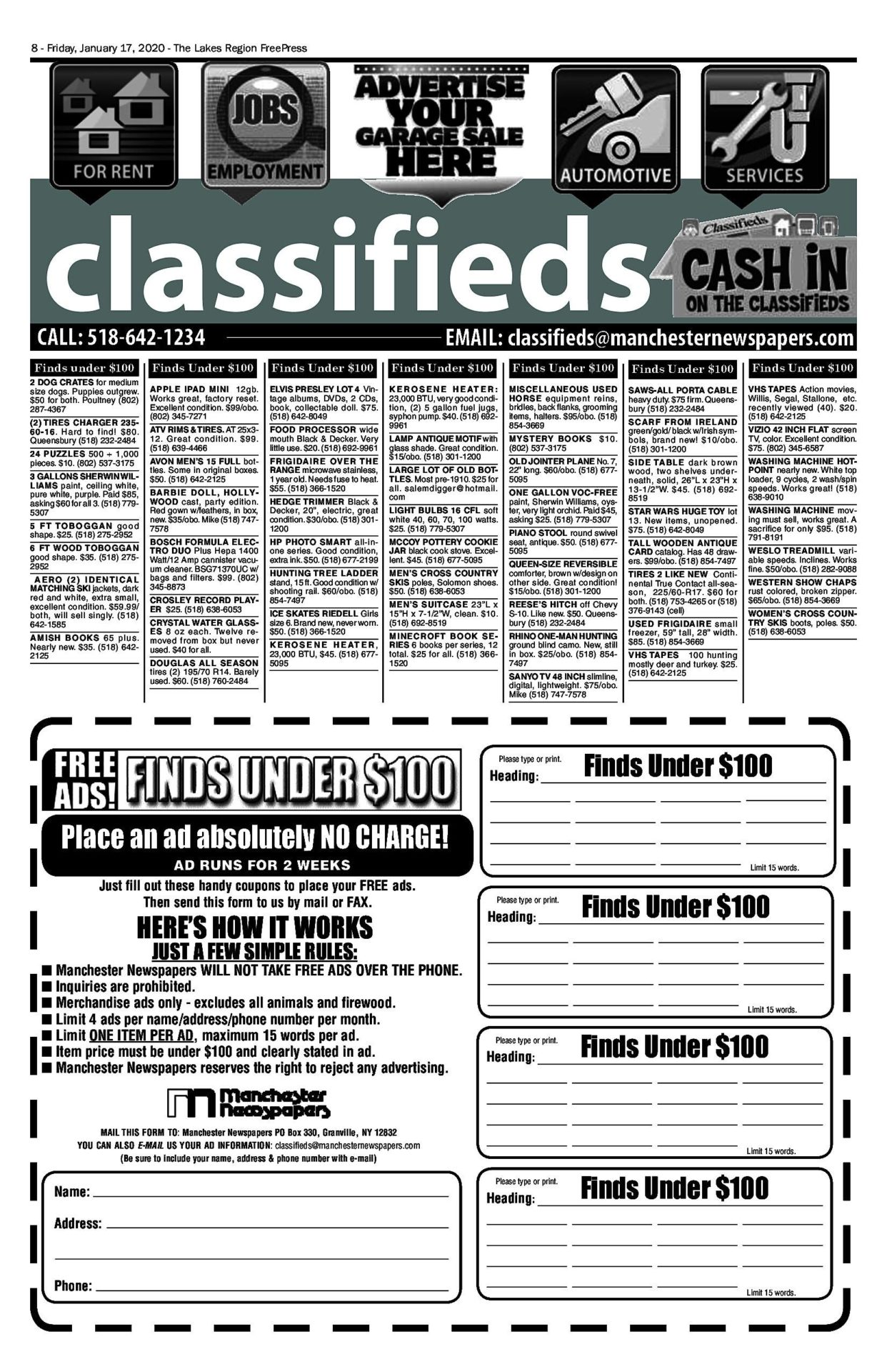 Lakes Classifieds – 01/17/20