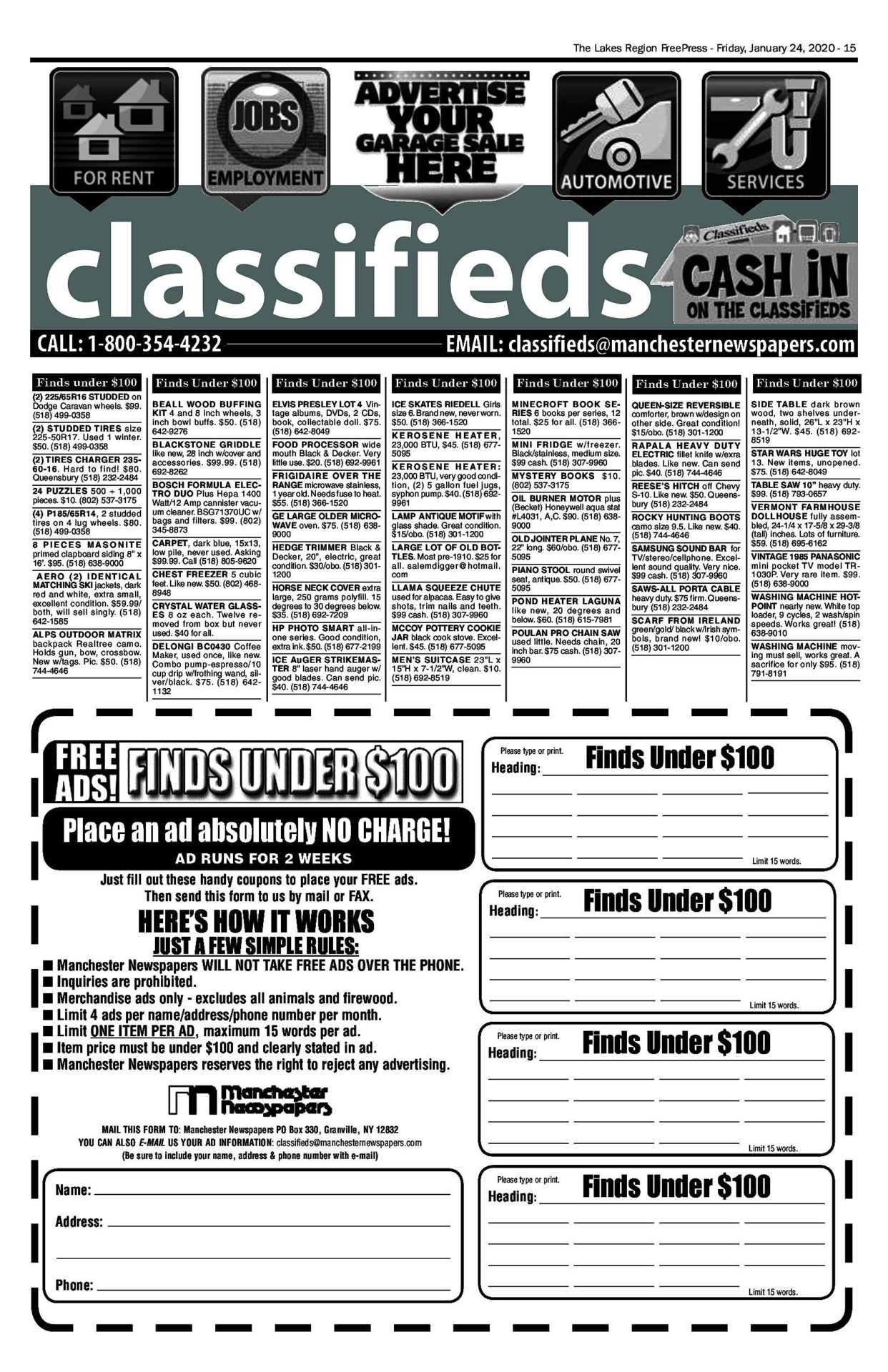 Lakes Classifieds – 01/24/20