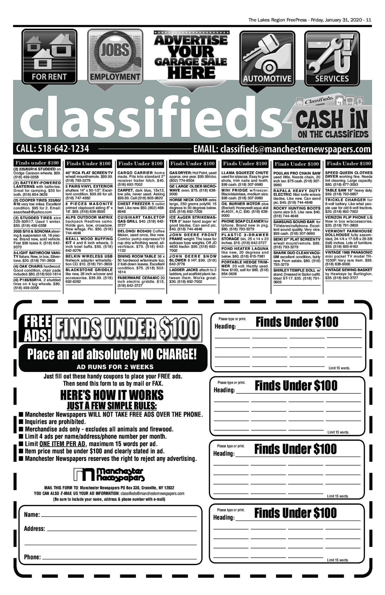 Lakes Classifieds – 01/31/20