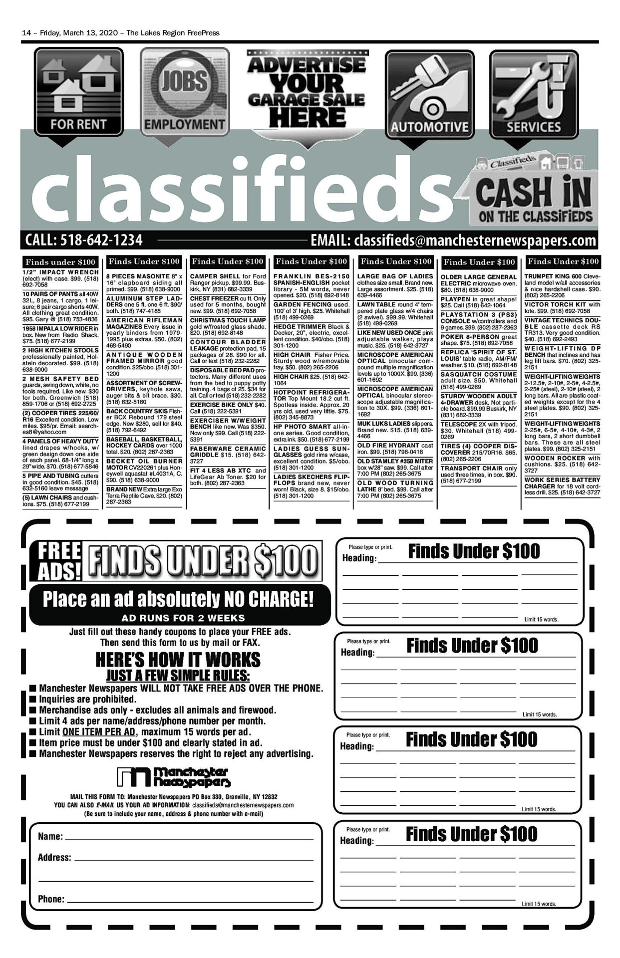 Lakes Classifieds – 03/13/20