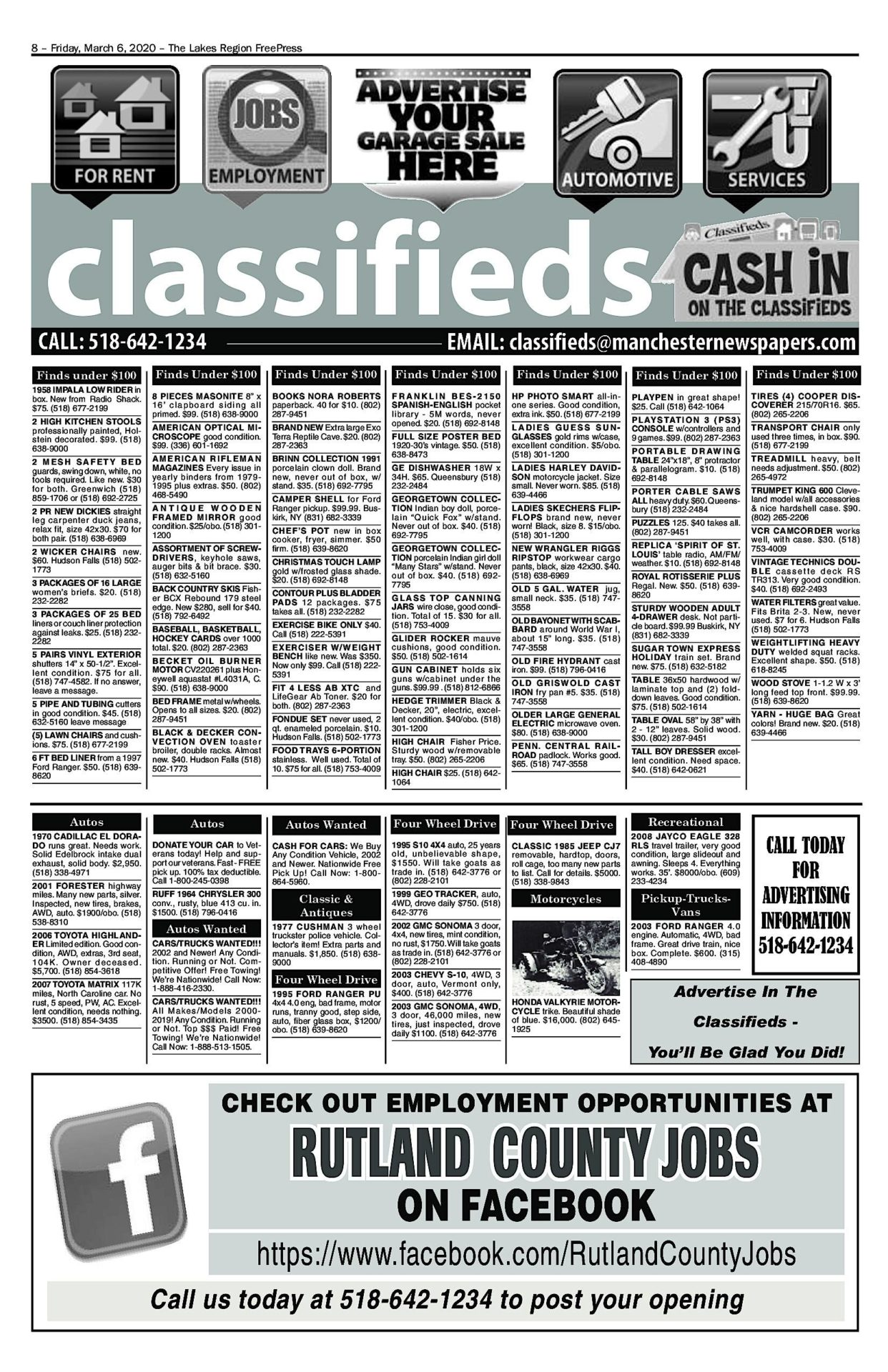 Lakes Classifieds – 03/06/20
