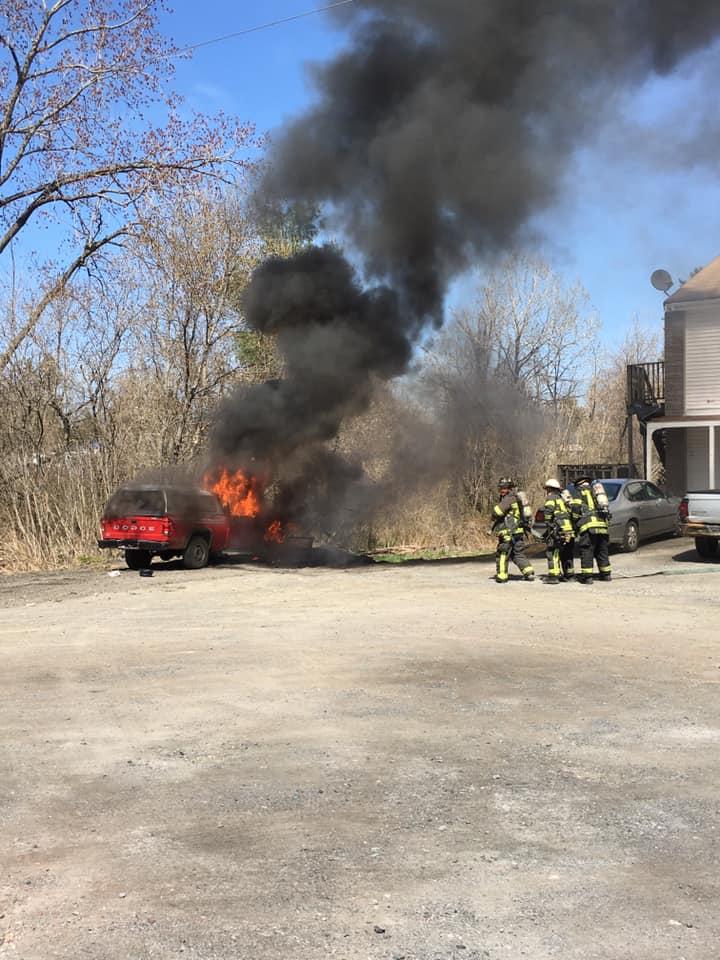 Backfire leads to truck fire