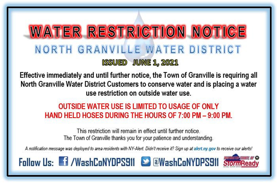 Water use restricted in North Granville